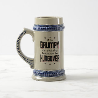 Chope À Bière GRINCHEUX parce que HUNGOVER (noir)