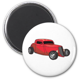 Chopped Red Street Rod Magnet