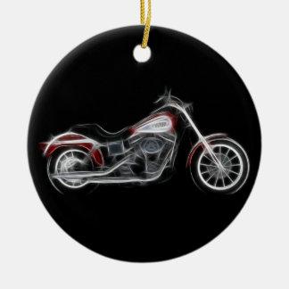 Chopper Hog Heavyweight Motorcycle Round Ceramic Ornament