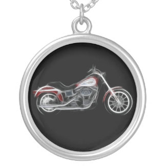 Chopper Hog Heavyweight Motorcycle Round Pendant Necklace