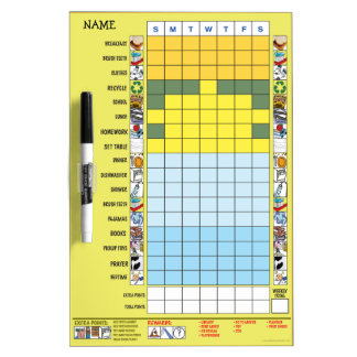 Chore/Schedule Chart for Elementary Schooler Dry Erase Board