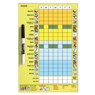 Chore/Schedule Chart for Preschooler Dry Erase Boards