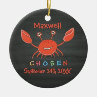 Chosen, Adopted, Adoption Crab - Custom Name Ceramic Ornament