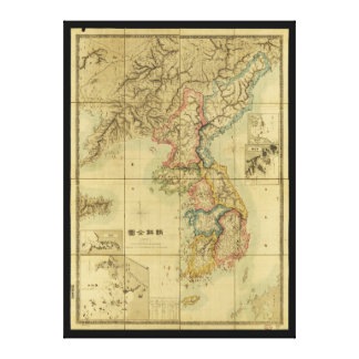 Chōsen Zenzu, Map of Korea (1875) Canvas Print