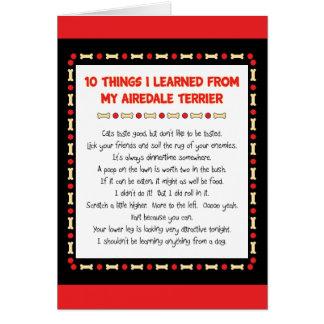 Choses drôles I appris de mon Airedale Terrier Cartes De Vœux