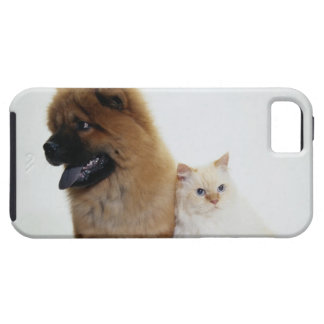 Chow Chow and a White Cat Sitting Together iPhone 5 Cover