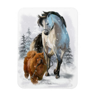 Chow Chow and horse Magnet