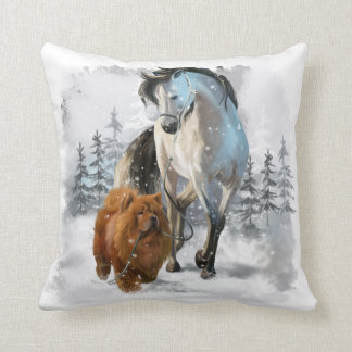 Chow Chow and horse Throw Pillow