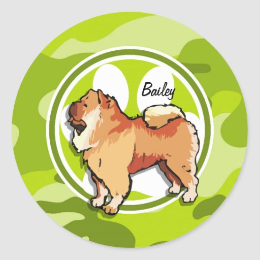 Chow Chow; bright green camo, camouflage Sticker