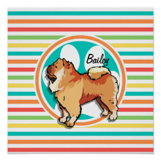 Chow Chow Bright Rainbow Stripes Poster