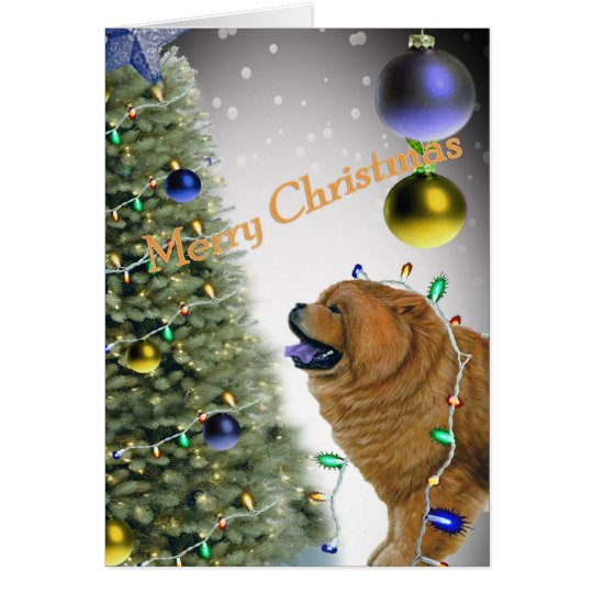 CHOW CHOW Christmas lights cards