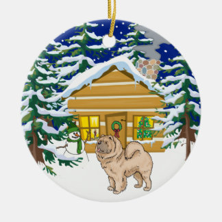 Chow Chow Christmas Log Cabin Ceramic Ornament