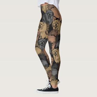 Chow Chow Dog Leggings printed.