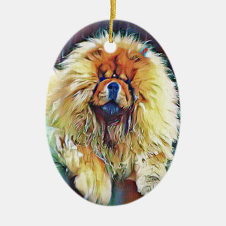 Chow Chow Dog on Porch in the Rain Ceramic Ornament