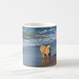 chow chow on beach.png coffee mug