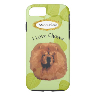 Chow Chow on Green Leaves w/Owners Name iPhone 7 Case
