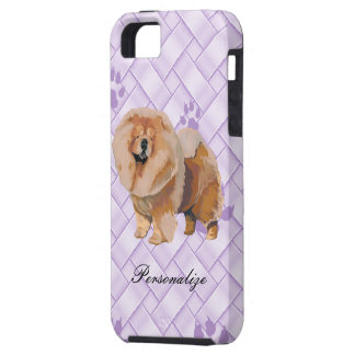 Chow Chow on Lavendar Weave w/pawprints iPhone 5 Covers