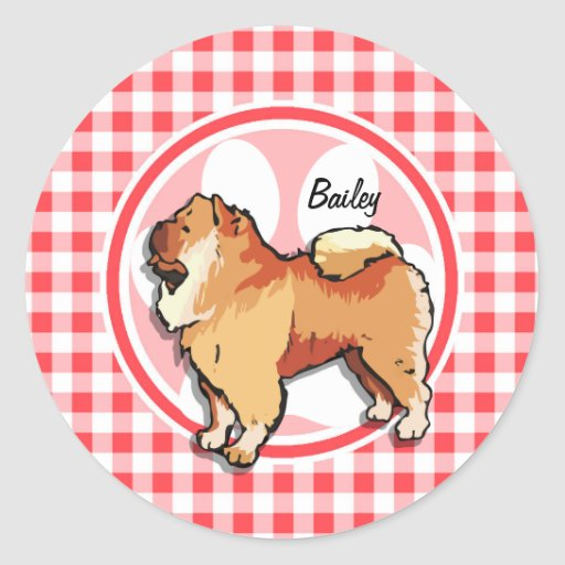 Chow Chow; Red and White Gingham Round Stickers