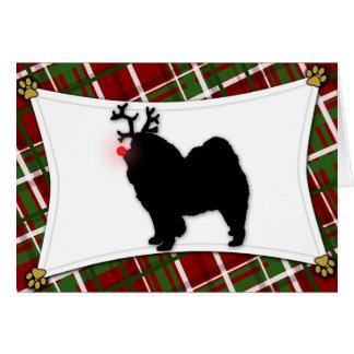 Chow Chow Reindeer Christmas Card