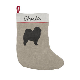 Chow Chow Silhouette with Custom Text Small Christmas Stocking