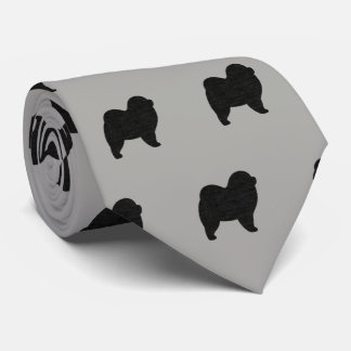 Chow Chow Silhouettes Pattern Tie