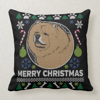 Chow Chow Ugly Christmas Sweater Dog Design Throw Pillow