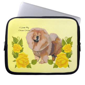 Chow Chow with Yellow Roses Laptop Computer Sleeve
