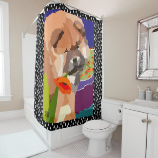 CHOW PUPPY in POPPIES  shower curtain