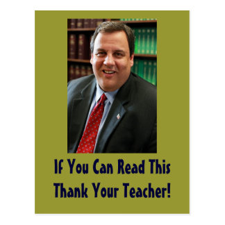 Chris Christie Thank Your Teacher Postcard
