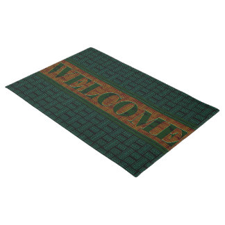 Chris Cross Lines Green Door Mat