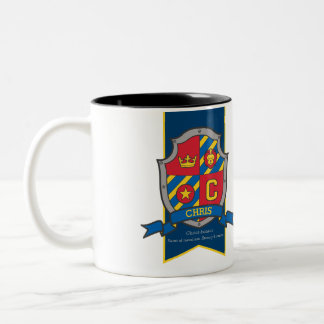Chris knight shield red blue name meaning mug