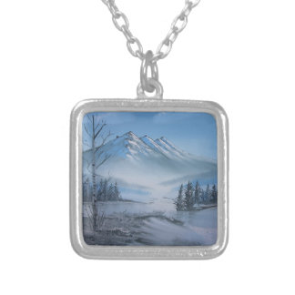 Chris Miller Snow on the Mountain Neck Lace Silver Plated Necklace