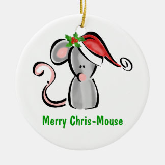 Chris Mouse with Santa Hat & Holly Ceramic Ornament