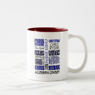 Chris Rybak over over logo - Blue black Two-Tone Coffee Mug