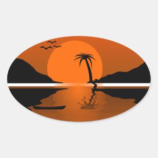 Chrisdesign RED ORANGES BLACK SUNSET VECTOR PALM T Sticker