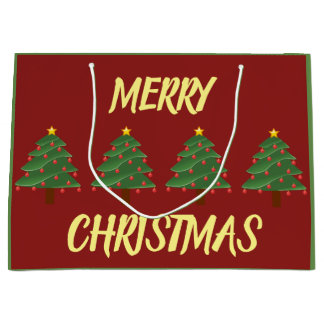 Chrismas Trees on Red Gift Bag