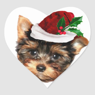 Chrismtas Yorkshire Terrier puppy dog Heart Sticker