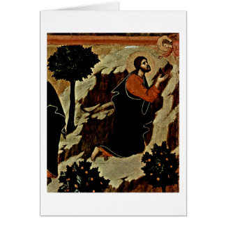 Christ And Praying Angel With Chalice By Duccio Card