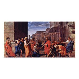 Christ And The Adulteress By Poussin Nicolas Customized Photo Card