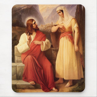 Christ and the Samaritan by Christian Schleisner Mouse Pad