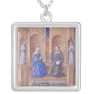 Christ and the Virgin Mary Enthroned Silver Plated Necklace