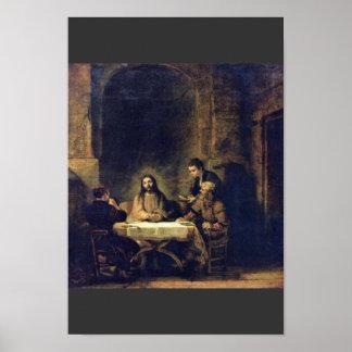 Christ At Emmaus By Rembrandt Harmensz. Van Rijn Poster