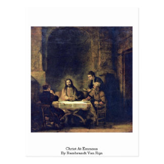 Christ At Emmaus By Rembrandt Van Rijn Post Cards