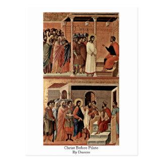 Christ Before Pilate By Duccio Postcard