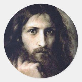 Christ by Ivan Nikolaevich Kramskoi Classic Round Sticker