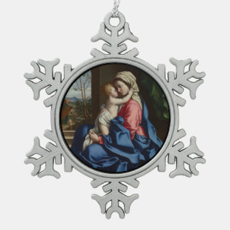 Christ Child Embracing His Mother Snowflake Pewter Christmas Ornament