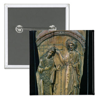 Christ Crowning the Emperor Constantine VII 2 Inch Square Button