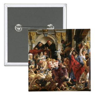Christ Driving the Merchants from the Temple 2 Inch Square Button