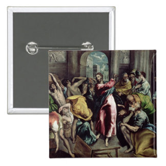 Christ Driving the Traders from the Temple 2 Inch Square Button