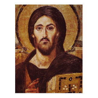Christ Icon from the 6th century Postcard